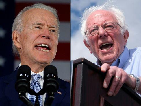 Joe Biden, Bernie Sanders (r.)
