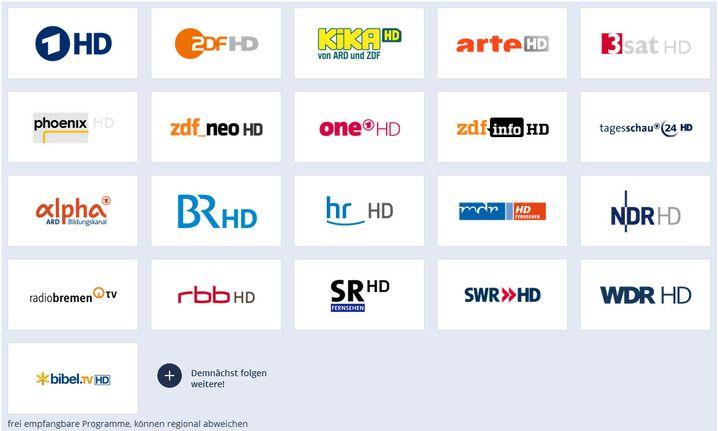 Per DVB-T2 HD frei empfangbare TV-Sender