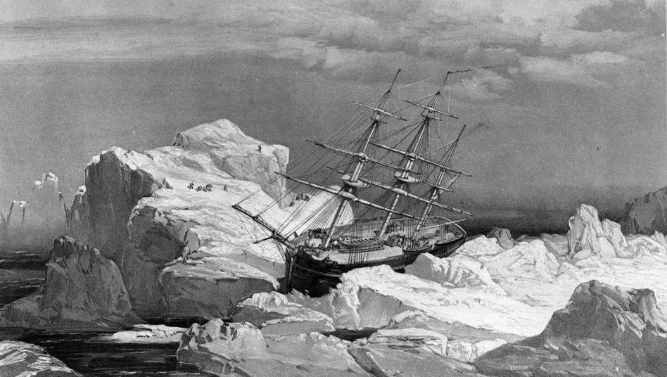 """Diese Illustration zeigt die HMS """"Investigator"""", die 1853 auf der Suche nach Franklins Schiffen im Eis feststeckend aufgegeben wurde."""