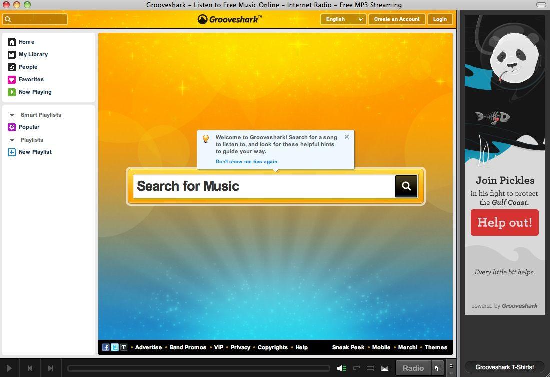 SCREENSHOT Grooveshark / Musik