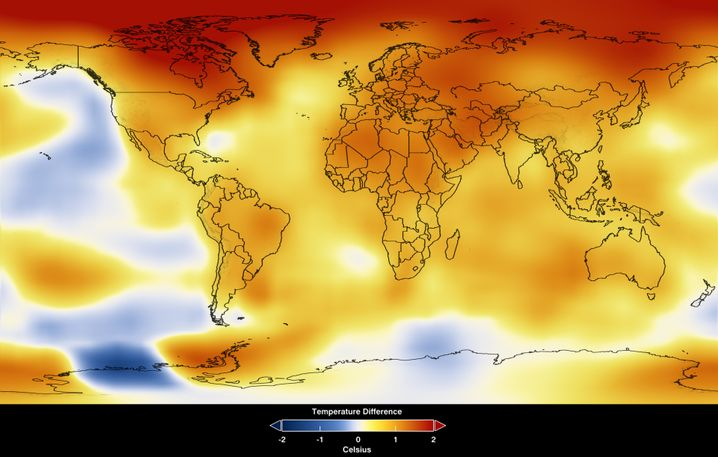 Temperaturen auf der Erdoberfläche von 2008 bis 2012: Gelb, Orange und Rot markieren Bereiche, in denen die Durchschnittstemperatur höher war als das langjährige Mittel.