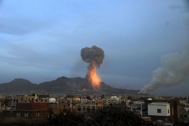 """A huge explosion rocks military weapon depots controlled by the Houthis in an air strike conducted by the Saudi-led coalition in Sanaa, Yemen. """"There have been a lot of lies,"""" Zarif says. """"What we've said is that problems in this region will not be resolved by the use of force."""""""