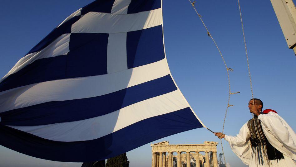 Griechische Flagge vor dem Parthenon: Es gibt noch Hoffnung