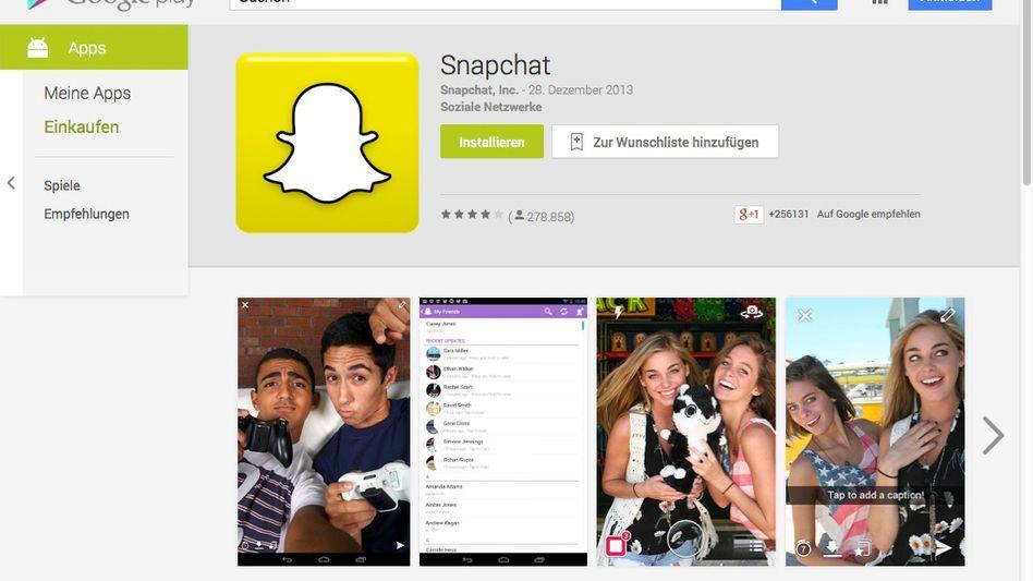 Snapchat-App im Google Play Store: Millionen Nutzer betroffen