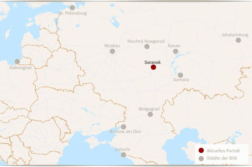 Karte Russland WM Städte Saransk