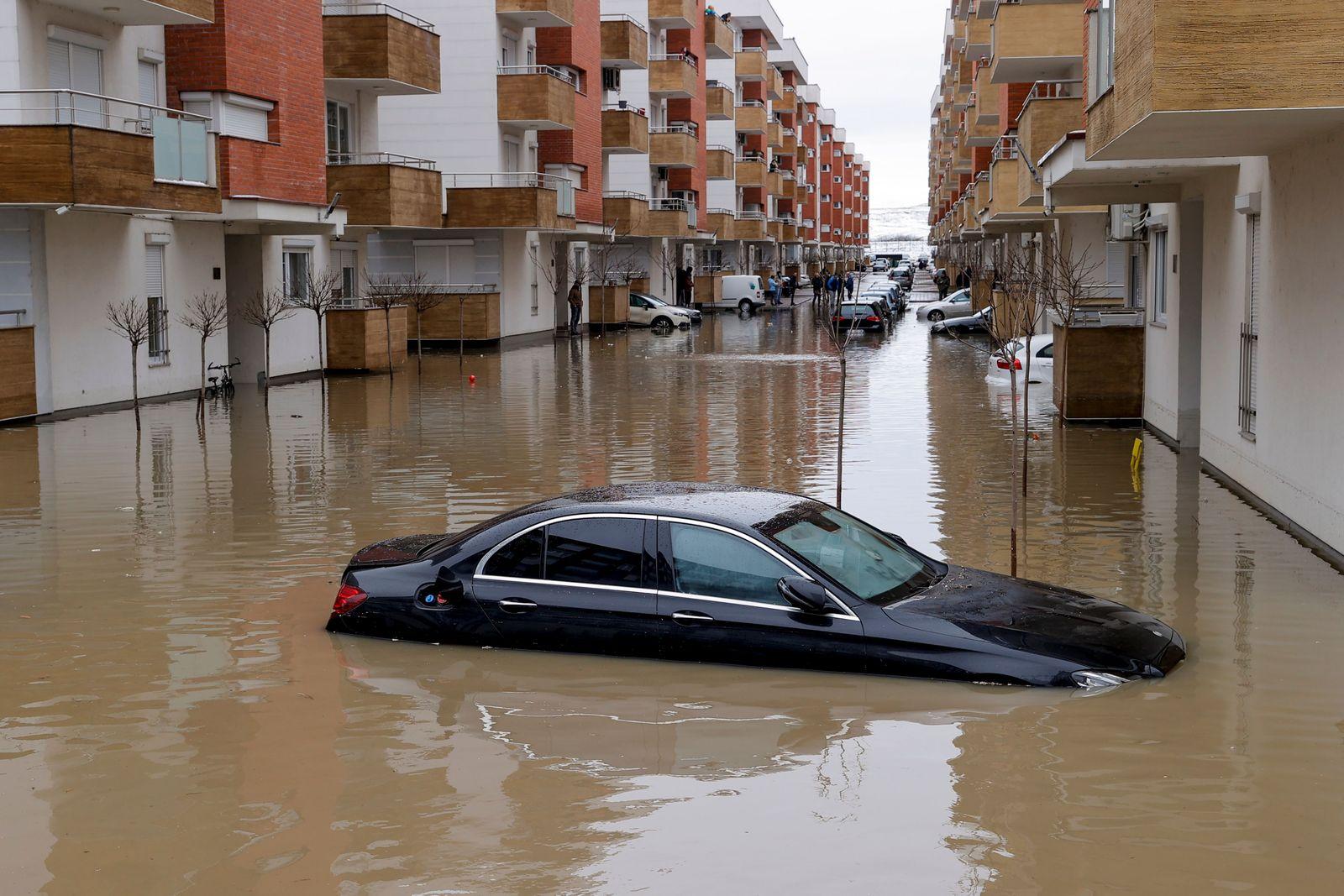 Heavy rain showers flooded different parts in Kosovo, Fushe Kosove, Serbia - 11 Jan 2021