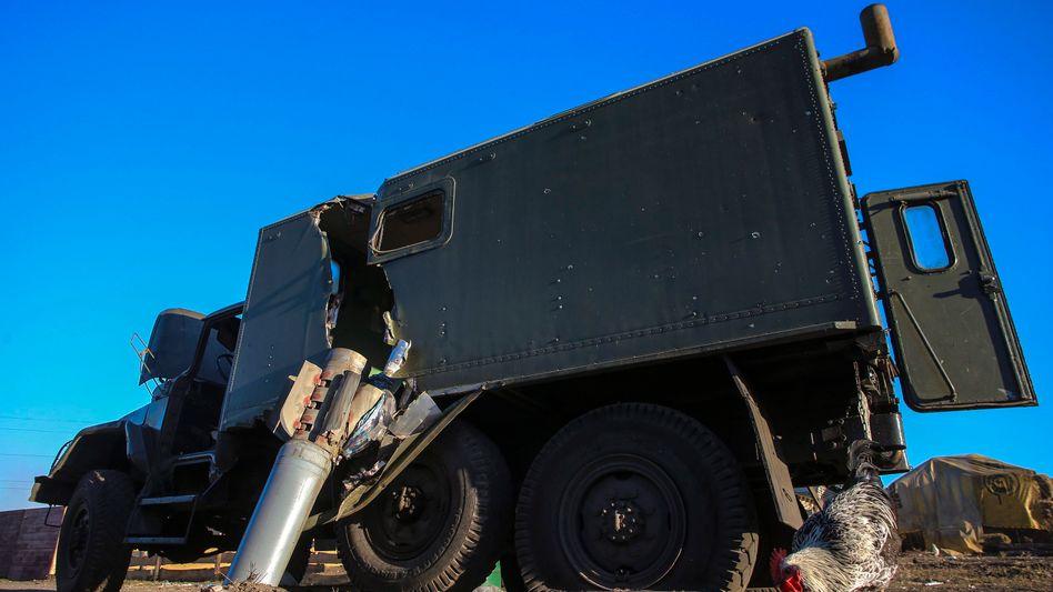 Zerstörter Laster der ukrainischen Armee: 60 Prozent der Militärtechnik verloren