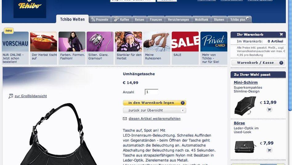Screenshot der Internetseite www.tchibo.de: Tückischer Lichtschalter