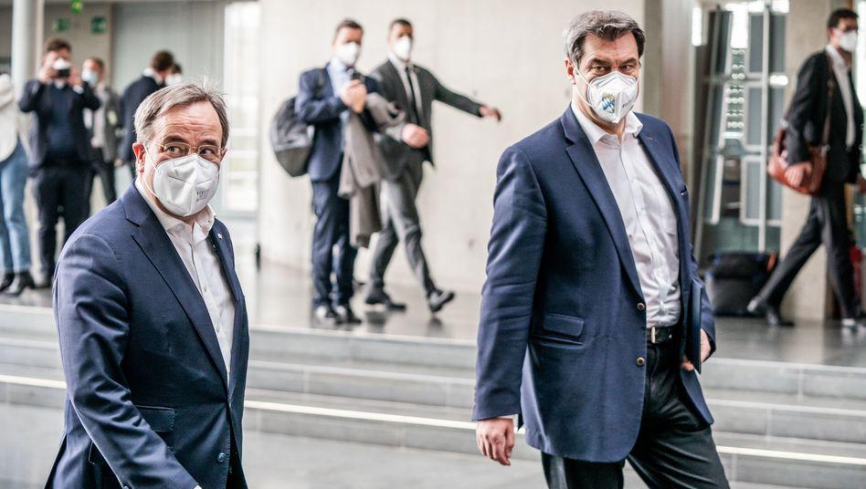 Streit um den Spitzenposten: CDU-Chef Armin Laschet (links) und CSU-Chef Markus Söder