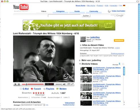 A Hitler clip on YouTube: The Central Council of Jews claims the video site has become a hotbed of the radical right-wing scene.