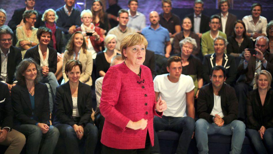 """Kanzlerin Merkel (CDU) in der ARD-""""Wahlarena"""": """"Ich tue mich schwer"""""""