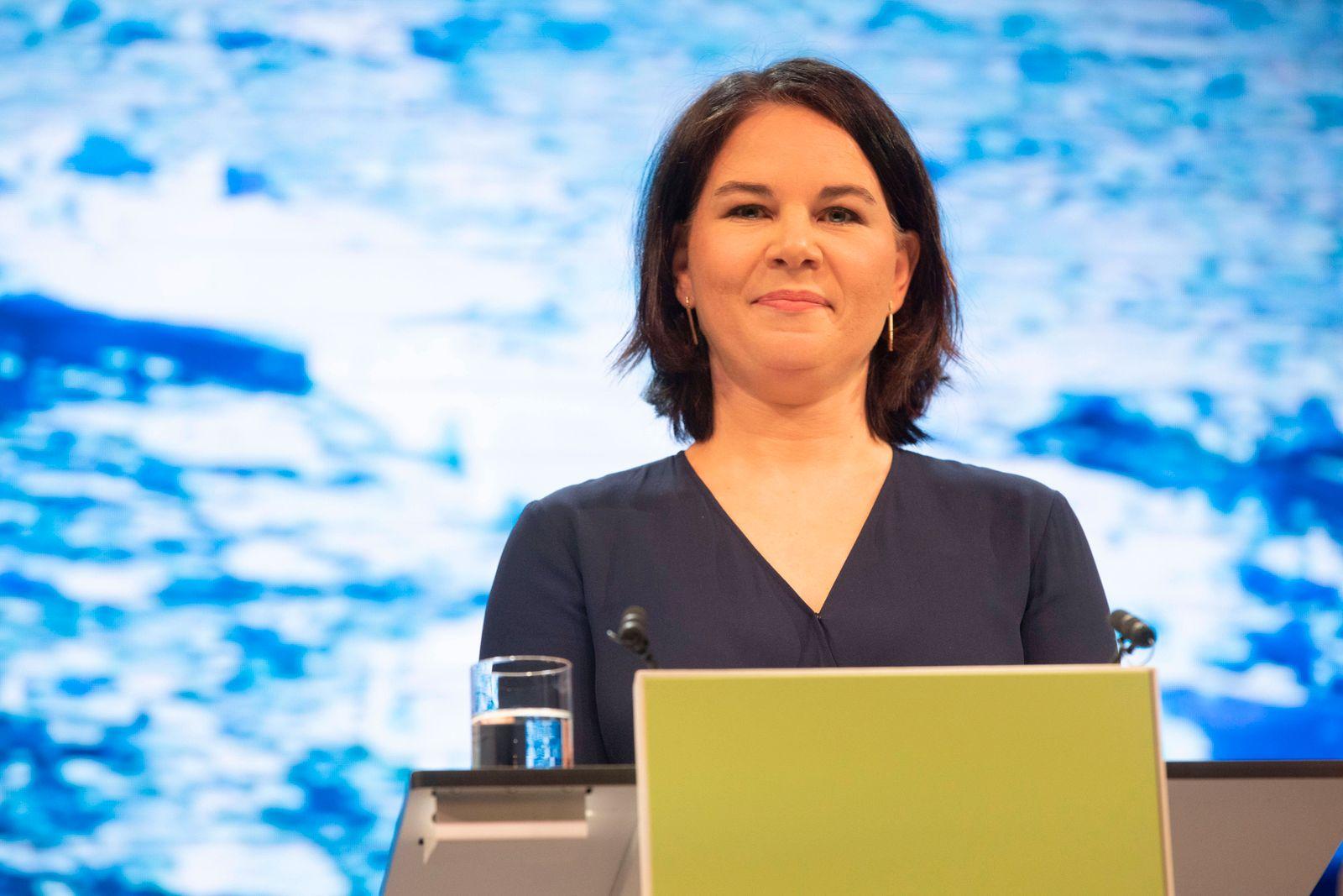 Deutschland, Berlin, Pressekonferenz mit der designierten Kanzlerkandidatin von BÜNDNIS 90/DIE GRÜNEN, Annalena Baerboc
