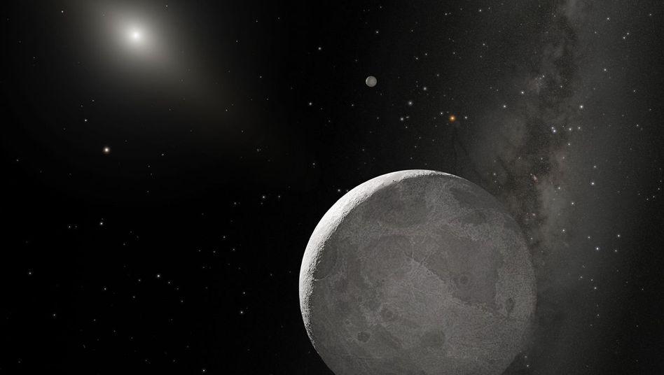 Eris (Illustration): In 557 Jahren umrundet der Zwergplanet einmal die Sonne