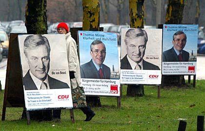 Hamburger Innenstadt: Ole von Beust (v.) und Thomas Mirow (h.) im Kampf um das Bürgermeisteramt