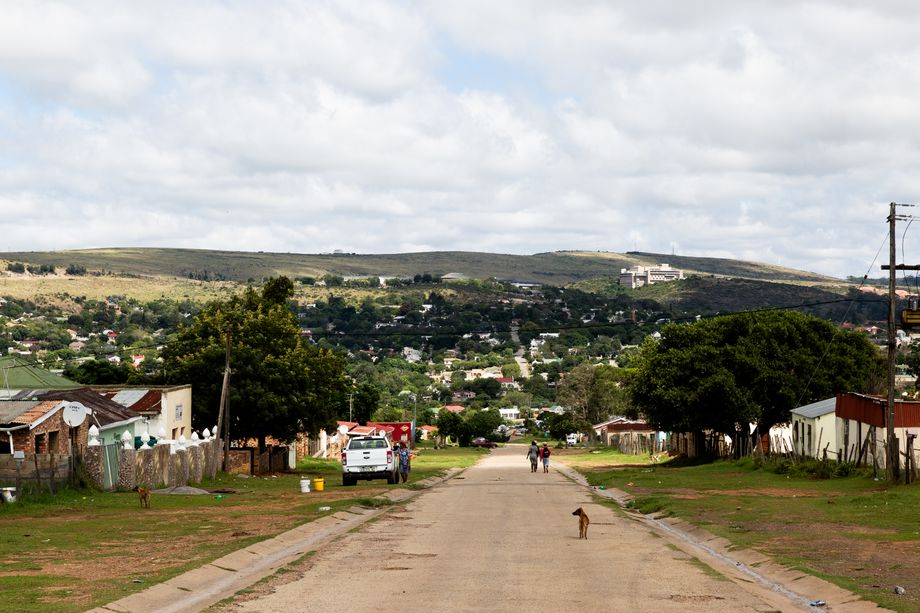 The view from the township across to the wealthy side of town. On top of the hill is the Settler's Monument, built in 1820.