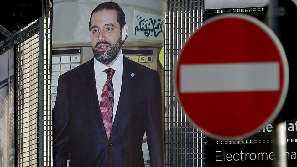 Poster mit einem Bild von Saad Hariri in Beirut