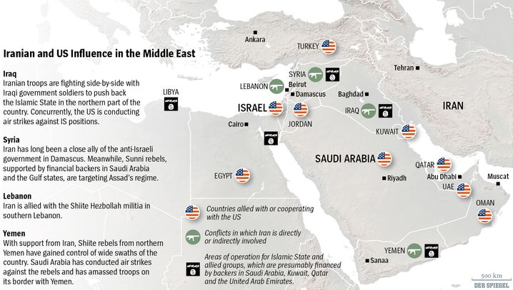 Map: Iranian and American Influence in the Middle East
