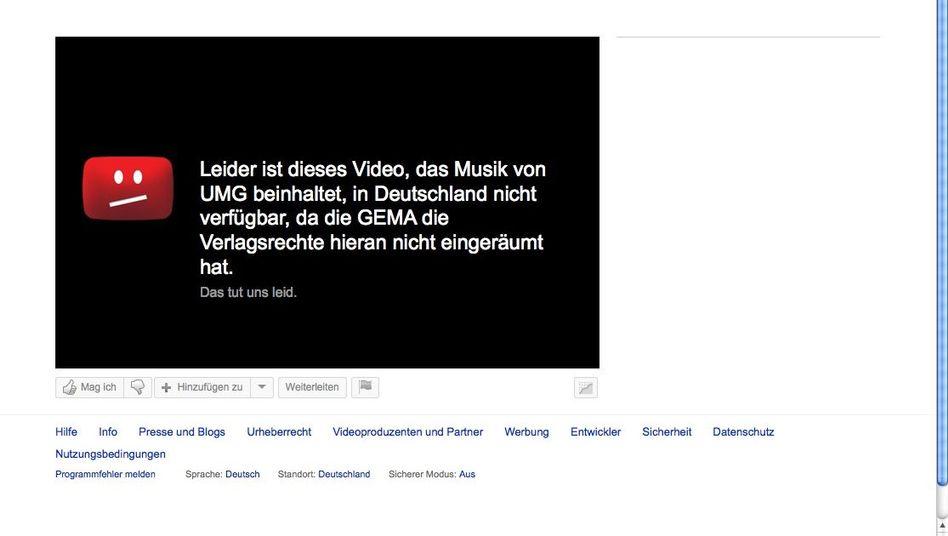 """YouTube-Fehlermeldung: """"Insofern haben wir die Meldung präzisiert"""""""