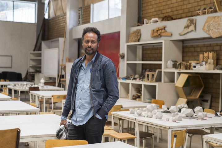 Urban planner Zegeye Cherenet in the lab at Addis Ababa University
