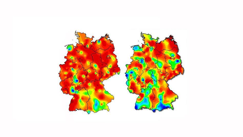 Aktivität akuter respiratorischer Erkrankungen, Kalenderwoche 10 (links) und 11 (rechts)