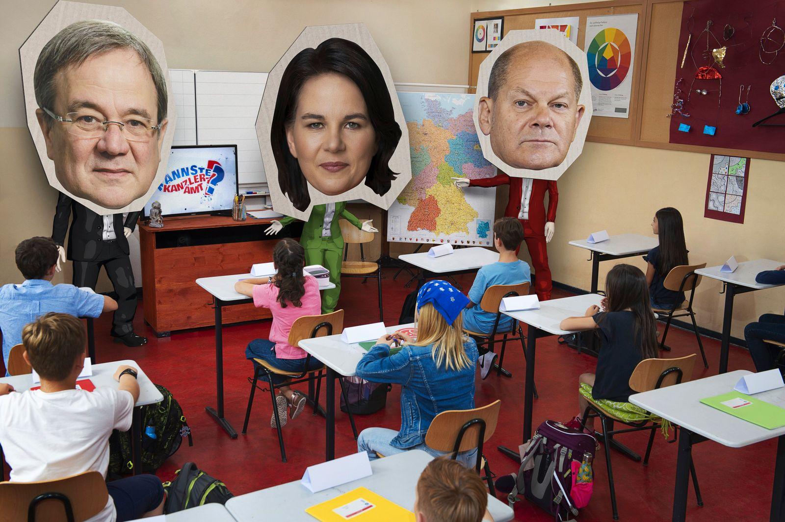 TV/ Kannste Kanzleramt? Baerbock, Laschet und Scholz zur¸ck in der Schule