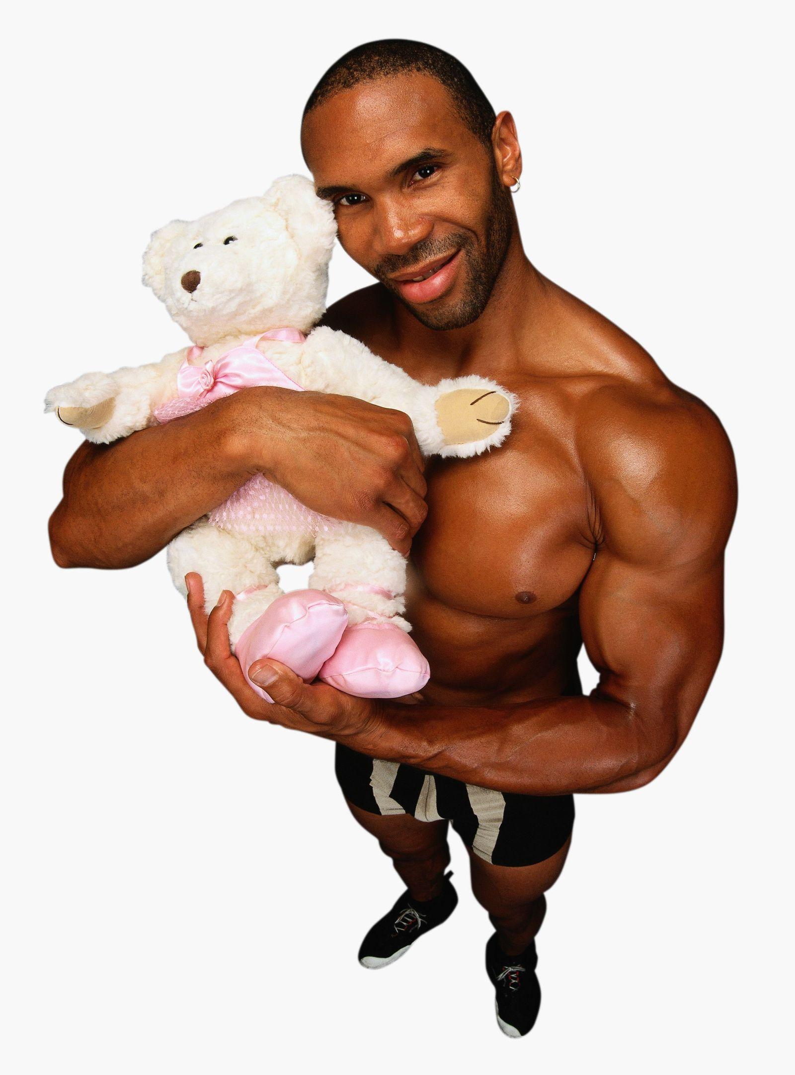 NICHT MEHR VERWENDEN! - Muskel-Mann mit Teddy