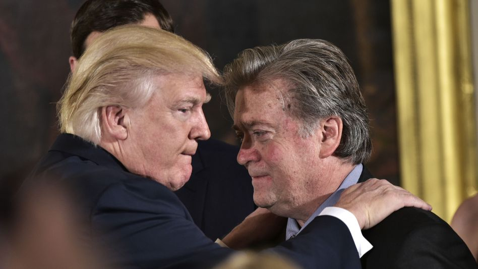 U.S. President Donald Trump and his chief of staff Steve Bannon