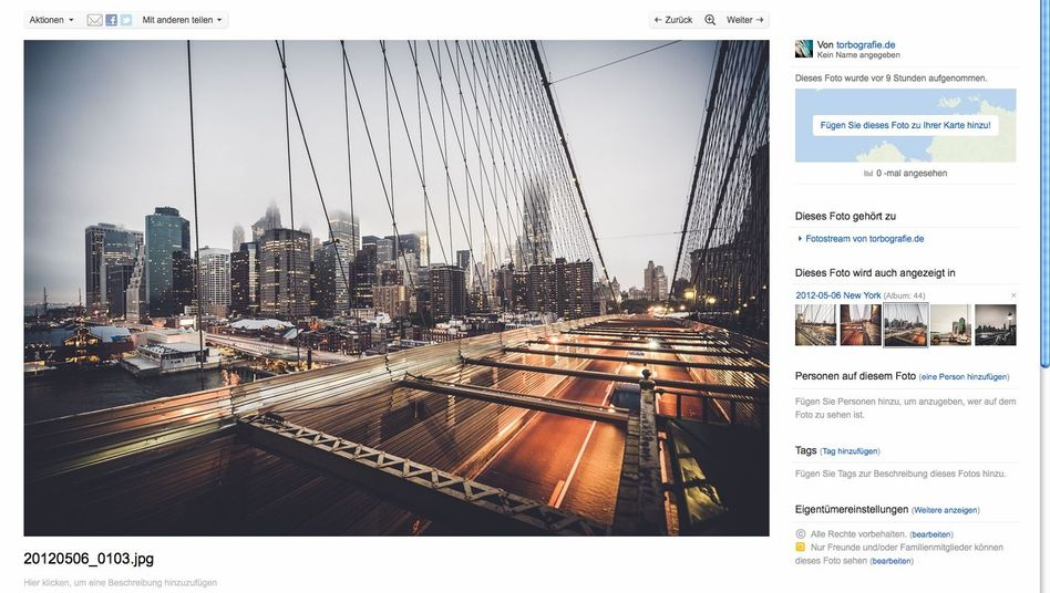 Fotoseite eines Flickr-Nutzers: Größere Bilder sollen die Seite schöner machen