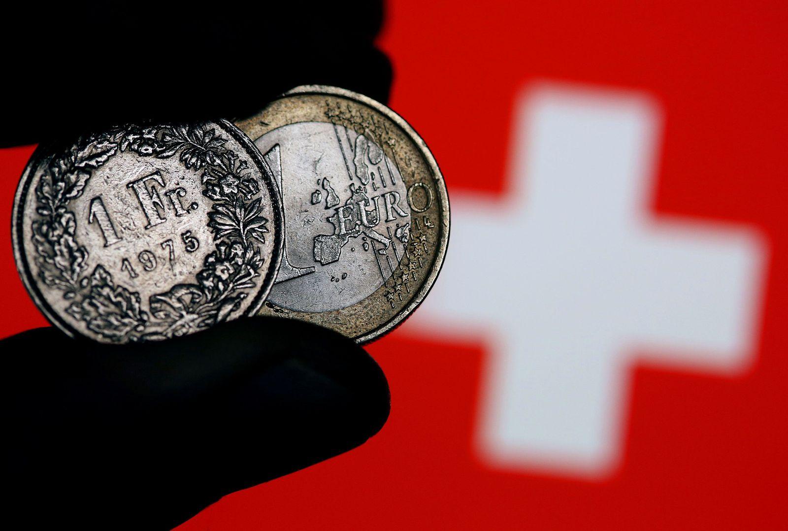 Euro und Franken Münzen