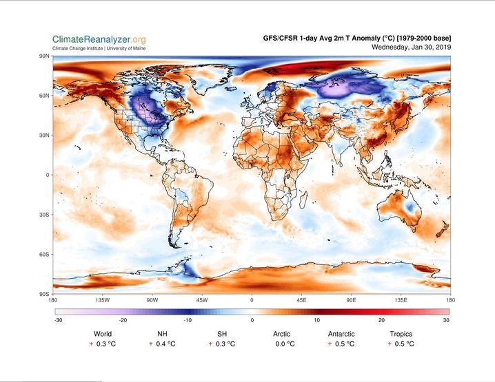 Temperaturen am 30. Januar 2019 im Vergleich zum langjährigen Durchschnitt (1979 bis 2000)