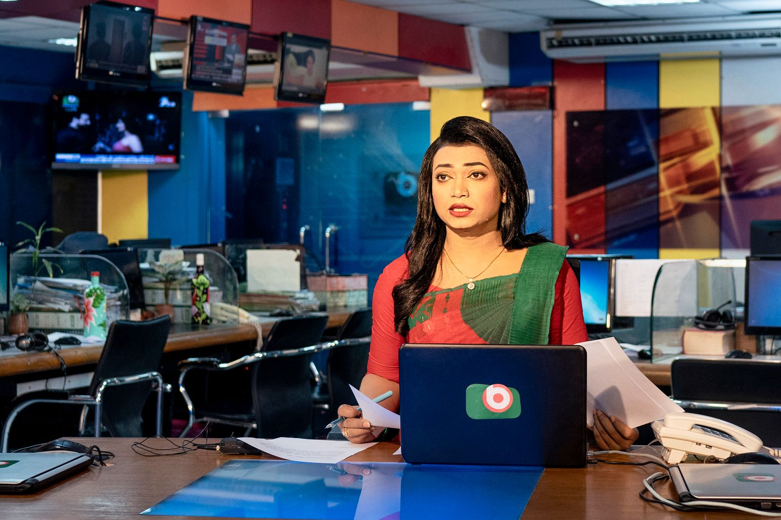 Tashnuva Anan Shishir presents the news at the Boishakhi TV studio in Dhaka, Bangladesh, on Saturday, March 13, 2021. (Fabeha Monir/The New York Times)
