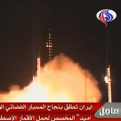 Raketenstart im arabisch-sprachigen iranischen Sender al-Alam: Ahmadinedschad war dabei