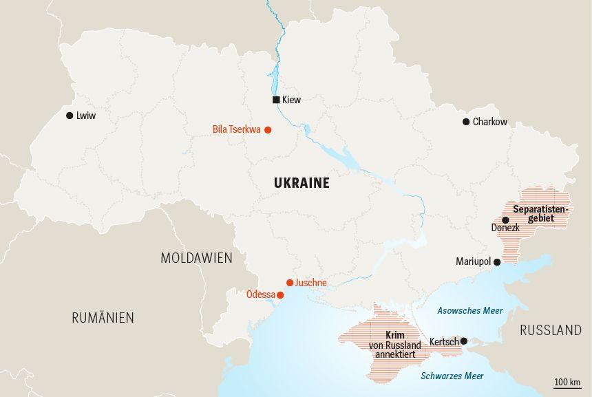 Karte Ukraine Präsidentschaftswahl Bila Junsche Odessa