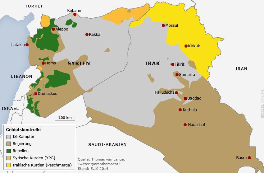Karte Irak / Syrien / Gebietskontrollen IS Regierung Rebellen Kurden