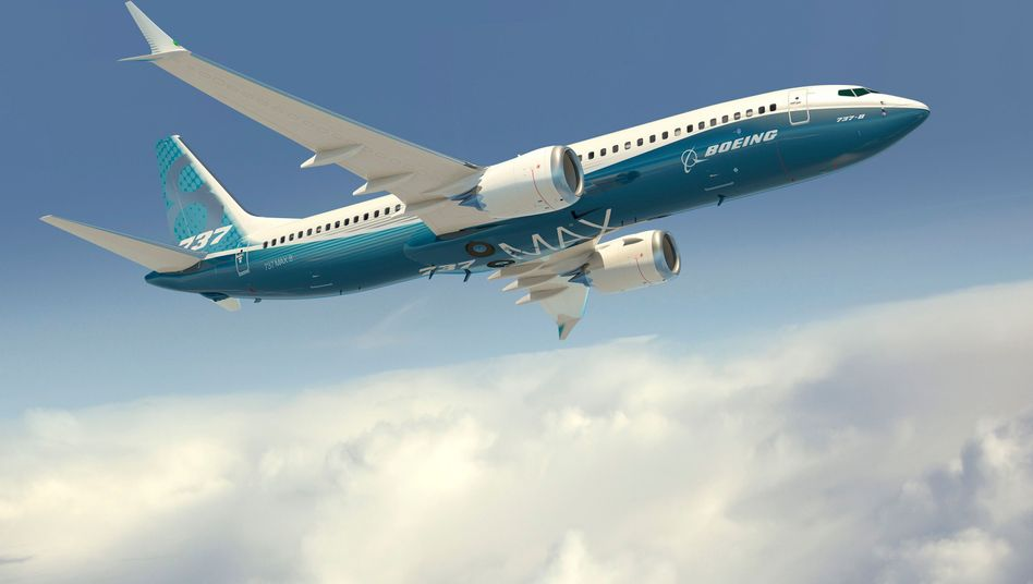 An artistic rendering of a Boeing 737 MAX 8 aircraft