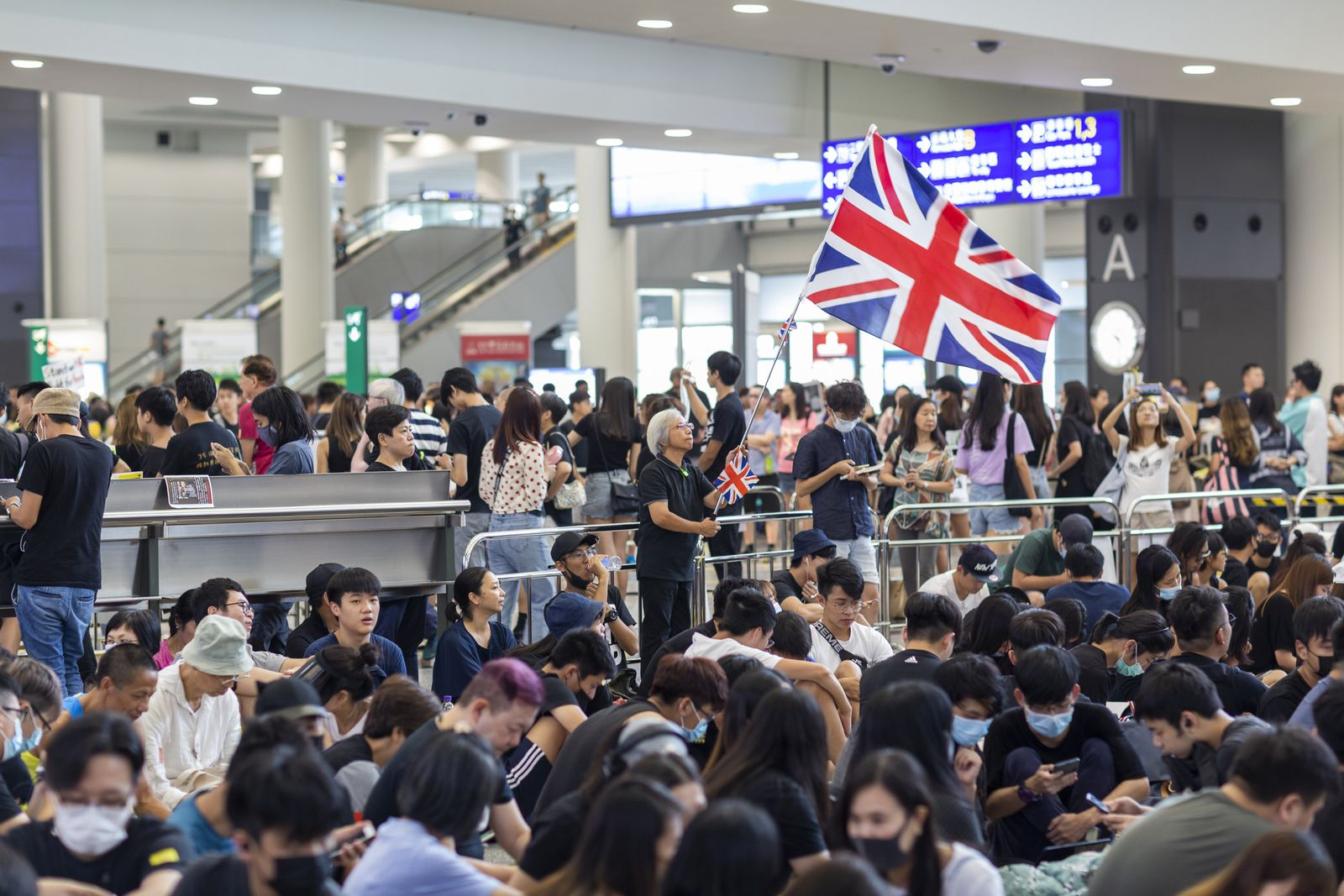 EINMALIGE VERWENDUNG Protest/ Hongkong/ Flagge