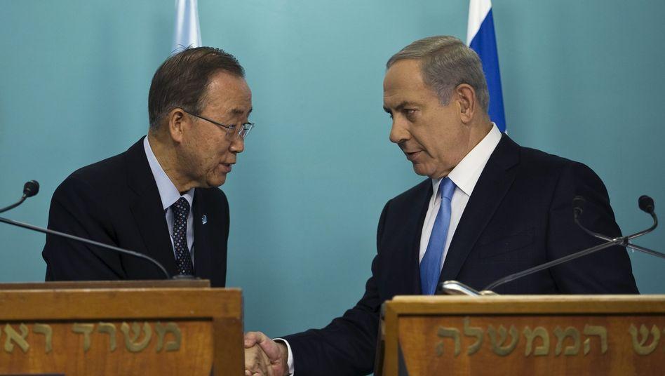 """Kontrahenten Ban (l.) und Netanyahu: """"Der Frust der Palästinenser wächst"""""""