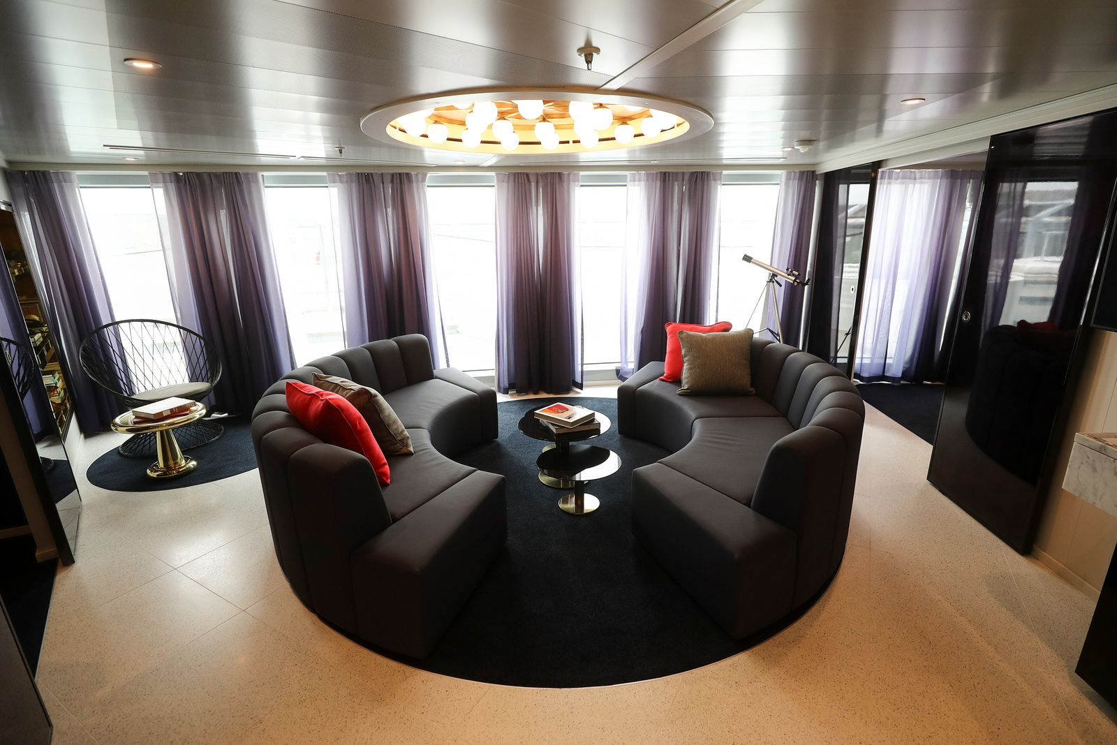 The Mega Rockstar suite is seen on the Virgin Voyages Scarlet Lady cruise liner at Dover Port in Dover