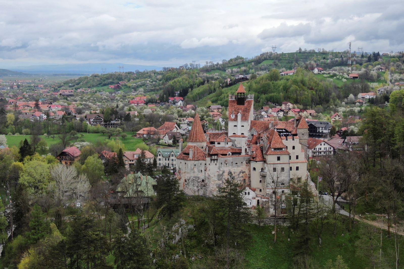 Bran Castle towers above Bran commune, in Brasov county