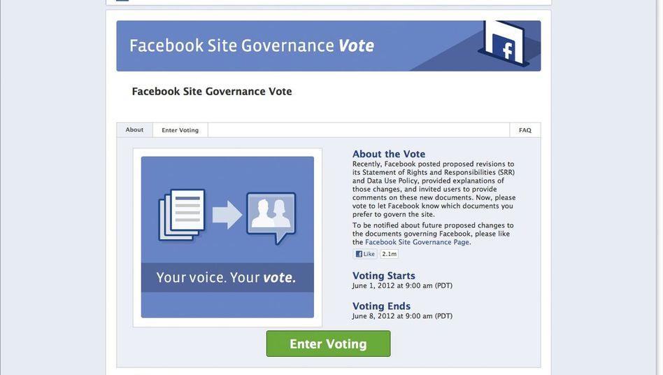 """""""Facebook Governance""""-Seite: Wahlbeteiligung unter der Wahrnehmungsschwelle"""