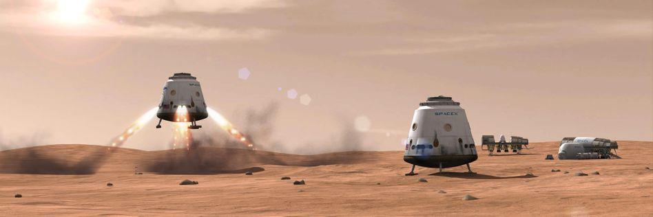 """""""Dragon""""-Kapseln von SpaceX (Zeichnung)"""