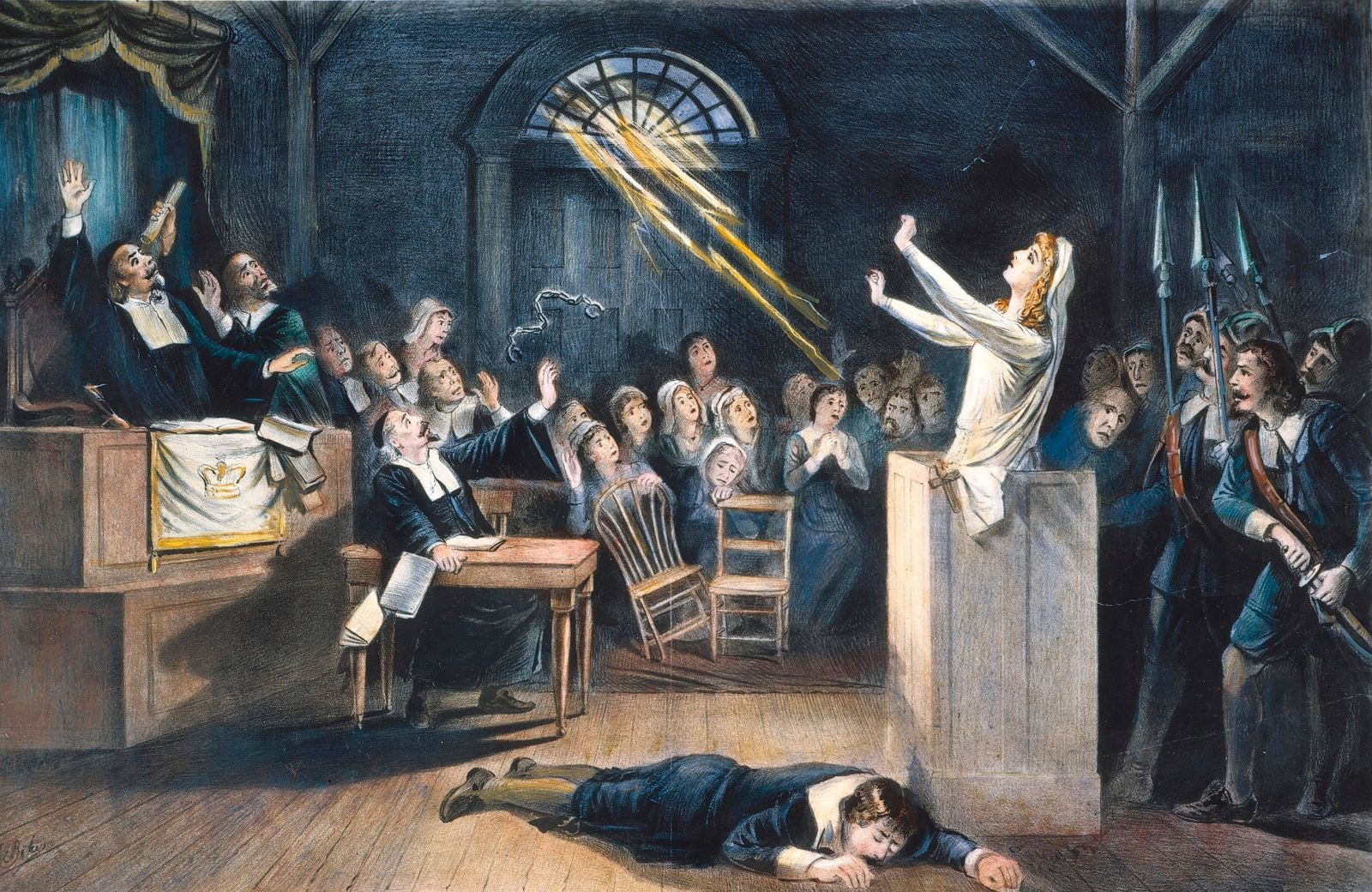 SALEM WITCH TRIAL, 1692. A witch trial at Salem, Massachusetts, in 1692: lithograph, 19th century.
