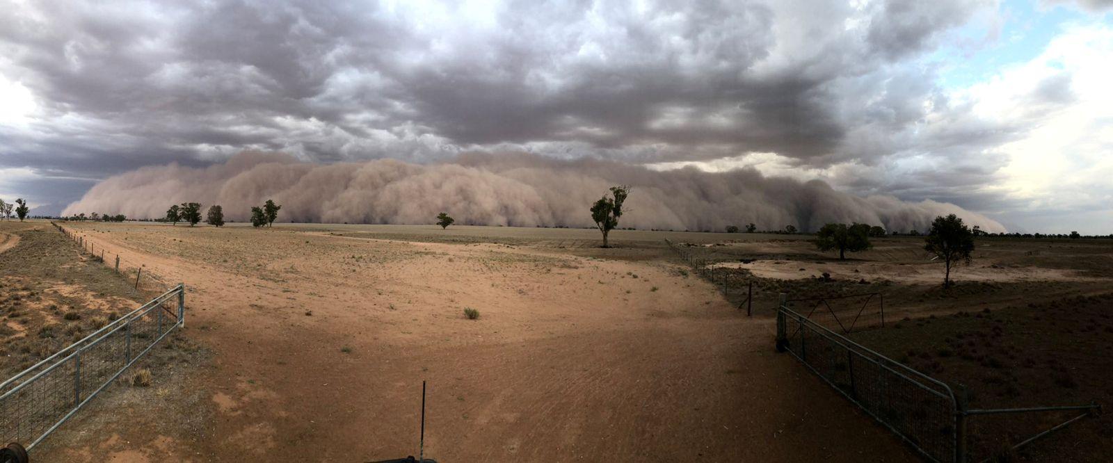 A duststorm approaches a farm, northwest of Dubbo, Australia
