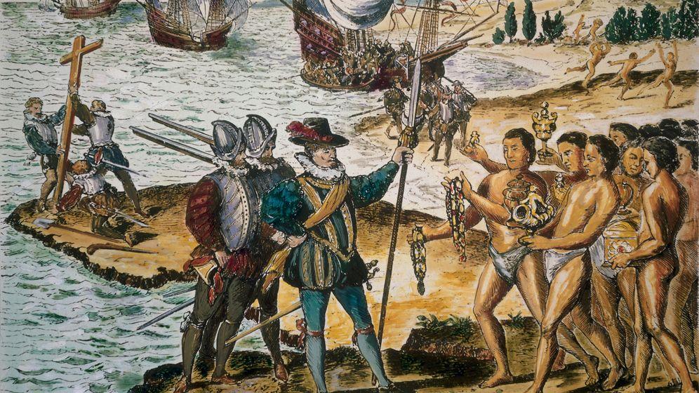 Rund 100 Jahre nach Kolumbus' »Entdeckung« von Amerika entstand diese Darstellung der europäischen Überlegenheit (1594)