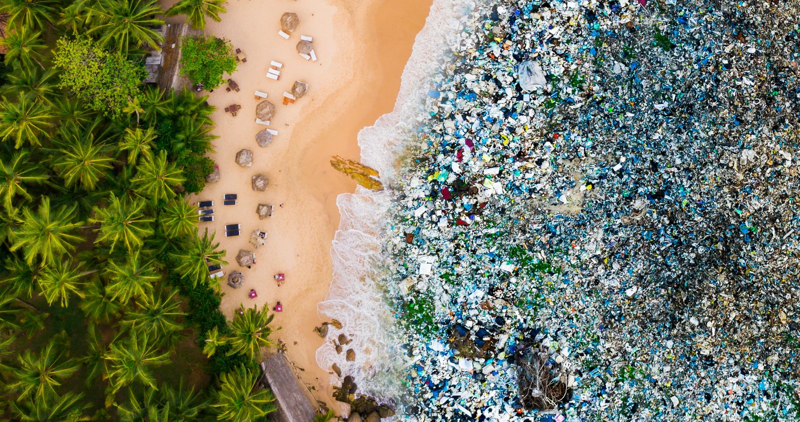 Tropical beach and trash in the water. Ocean pollution concept with plastic and garbage