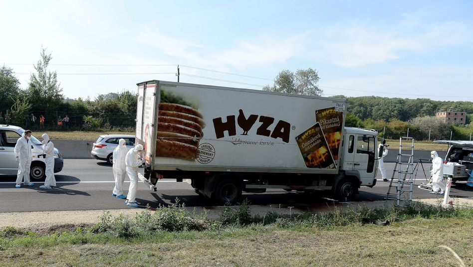 Ermittler untersuchen den Laster mit den toten Flüchtlingen: Mehr als 70 Menschen starben