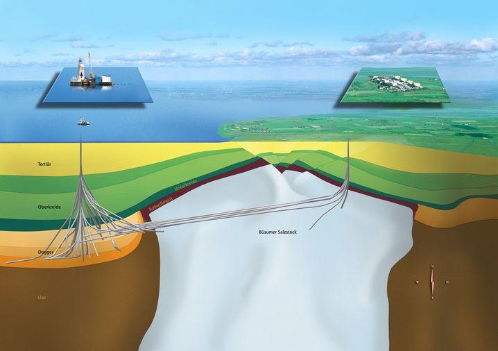 Schema der Bohrungen: Ölförderung von Land und von der Plattform Mittelplate