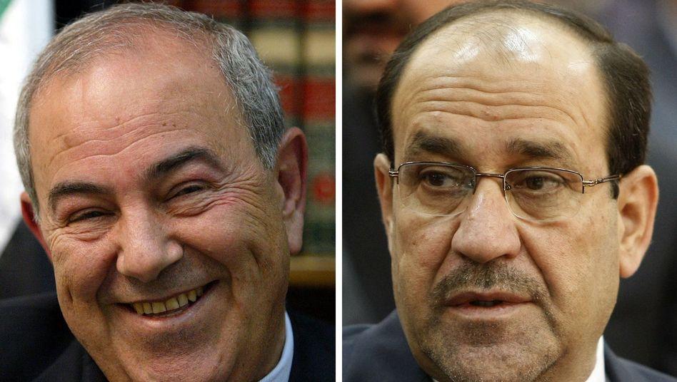 Irakische Politiker Allawi (l.) und Maliki: Acht Monate Machtvakuum