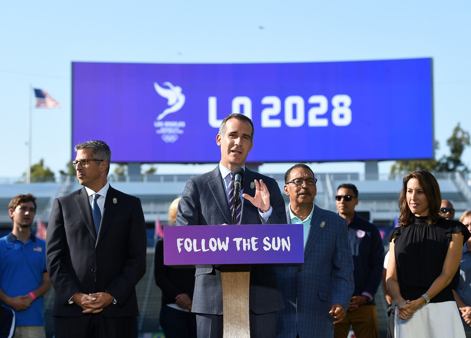 US-LOS-ANGELES-MAYOR-GARCETTI-ANNOUNCES-THE-CITY-AS-HOST-OF-2028