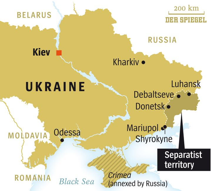 Map of Ukraine and the Separatist territories
